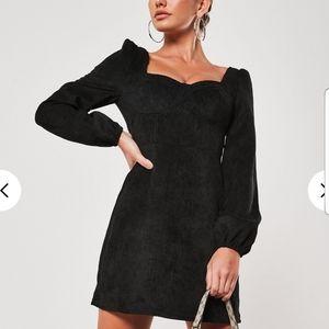 "Black ""corduroy"" mini dress"
